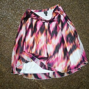 Abstract watercolor pleated skirt